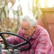 Senior man od tractor — Stock Photo #57469507