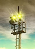 Loudspeakers on tower — Stock Photo