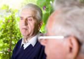 Senior citizens chatting — Stock Photo