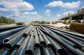 PVC pipes ar building site — Stock Photo
