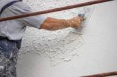 Decorative plaster applied on the surface by a steel trowel — Stock Photo