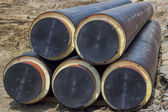 Underground insulated pipes to connect buildings on heatsystem — Foto de Stock