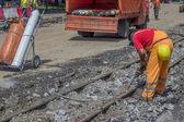 Demolition of tram lines 3 — Stock Photo