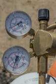 Dual pressure gauges of oxy acetylene tanks — Stock Photo