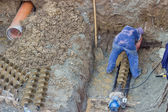 Drilling under street for sewer pipes 3 — Foto de Stock
