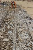 Works on the of reconstruction tram tracks 3 — 图库照片