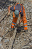 Works on the of reconstruction tram tracks — 图库照片