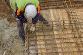 Ironworker install rebar 2 — Stock Photo