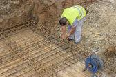 Tying reinforcing steel bars — Stock Photo