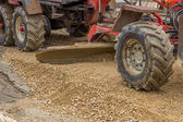 Close up of motor grader working on gravel leveling 2 — Stock Photo