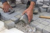 コンクリート レンガ舗装を敷設 — ストック写真