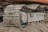 Close up of caterpillar on pile of dirt — Stock Photo
