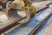 Tram rail track installation machine — Stock Photo
