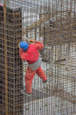 Ironworkers install reinforcing steel — Stock Photo