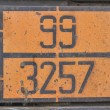 Orange plate with hazard identification number on bitumen tank — Stock Photo #64122513