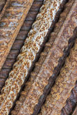 Close of rusty ribbed iron rod 2 — Stock Photo