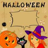 Funny card with Halloween — Stockvector