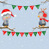 Christmas owls — Stock Vector