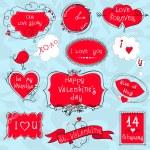 Doodle Valentine frames — Stock Vector #60808887
