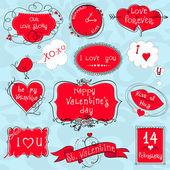 Doodle Valentine frames — Stock Vector