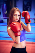 拳击手的女孩 — 图库照片
