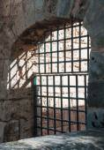 Old iron grid opening — Stok fotoğraf