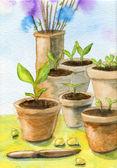 Vasos de jardim — Fotografia Stock