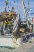 Fishing boat moored vertical image — Stock Photo