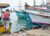 Fishing boats in Tangalle port — Stock Photo
