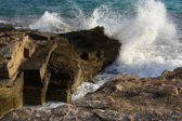 Breaking wave in Ses Covetes — Stock Photo