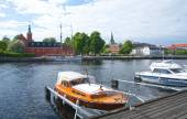Small motorboats Nissan river Halmstad Sweden. — Stock Photo