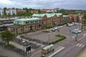 Front entrance Halmstad central train station — Stock Photo