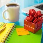 Present box with christmas message: Ho Ho Ho! for holiday season — Stock Photo #56230009