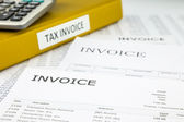 Tax invoices and Bills, Commercial documents — Stock Photo