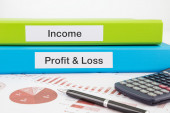 Income, Profit & Loss documents with reports — Stock Photo
