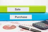 Sale and purchase documents with reports — Stock Photo