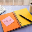 Good job word on sticky note at workspace — Stock Photo #61745163