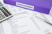 Accounting for business income statement — Stock Photo