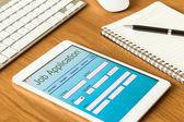Digital tablet pc showing online job application form  — Stock Photo