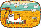 White cat lying on the beach — Vecteur