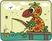 Pesca pappagallo colorato su un ponte — Vettoriale Stock
