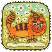 Orange cat with big blue eyes — Stock Vector