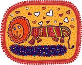 Decorative lion smiling — Stock Vector