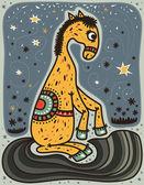 Yellow horse sitting in night — Stock Vector