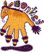 Donkey-shaped hand — Stock Vector