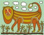 Huge decorative lion — Stockvektor
