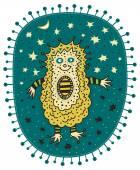 Unusual yellow hedgehog — Stockvector
