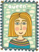 Sketch cute woman in crown — Stock Vector
