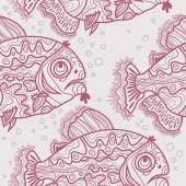 Pattern with  drawn fishes — Stockvektor