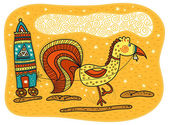 Yellow rooster harnessed to a carriage — Stock Vector